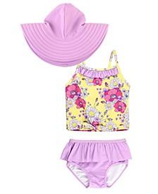 Baby Girls Ruffled Tie Tankini Swim Hat Set