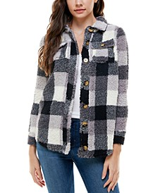 Juniors' Plaid Button-Down Jacket