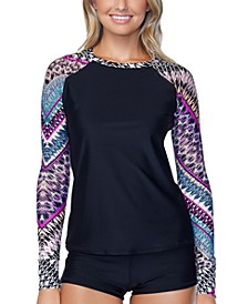 Juniors' Wild About You Printed Long-Sleeve Rash Guard, Created for Macy's