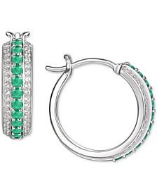 "Emerald (1/2 ct. t.w.) & Diamond (1/4 ct. t.w.) Small Hoop Earrings in Sterling Silver, 0.67"" (Also in Ruby & Sapphire)"