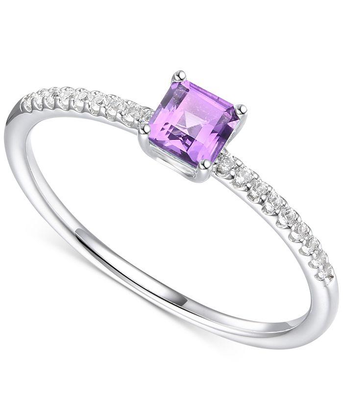 Macy's - Amethyst (3/8 ct. t.w.) & Certified Diamond (1/20 ct. t.w.) Ring in Sterling Silver (Also in Citrine & Blue Topaz)