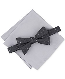 Men's Pre-Tied Geo Dot Bow Tie & Solid Pocket Square Set, Created for Macy's