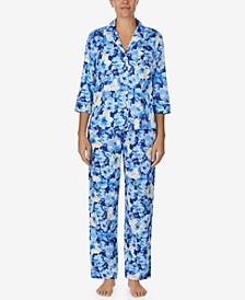 Printed Three-Quarter Sleeve Pajama Set