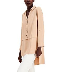 Button-Front Asymmetrical-Hem Tunic Top