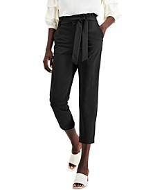 Belted Ruffled Paperbag Waist Pants