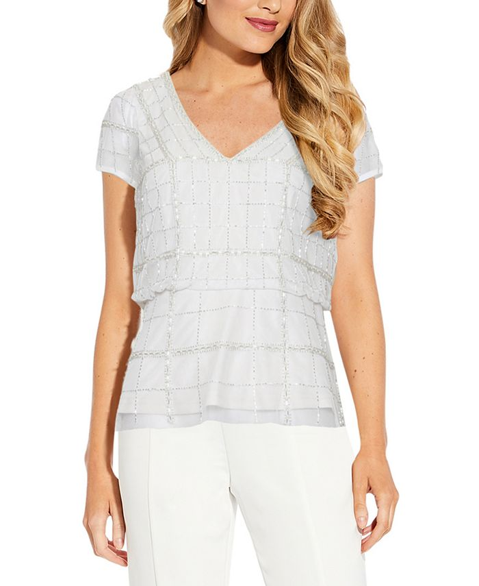 Adrianna Papell - Beaded Blouson Top