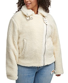 Trendy Plus Size All Over Sherpa Asymmetrical-Zip Moto Jacket
