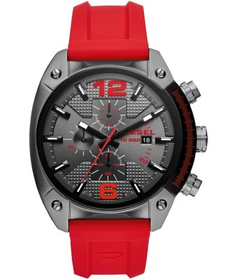 Overflow Chronograph Red Silicone Watch 55mm