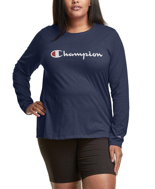 Champion Plus Size Long-Sleeve Logo T-Shirt