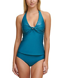 Twist-Front Halter Tankini Top & Bikini Bottoms