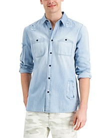 Men's Julian Regular-Fit Distressed Denim Shirt, Created for Macy's