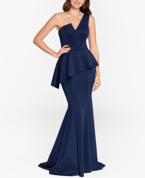 One-Shoulder Peplum Gown & Face Mask