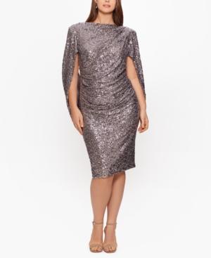 Plus Size Sequin Drape-Back Sheath Dress