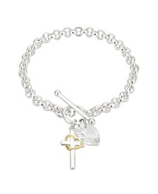 Fine Silver Plated Clear Crystal Heart and Cross Toggle Bracelet