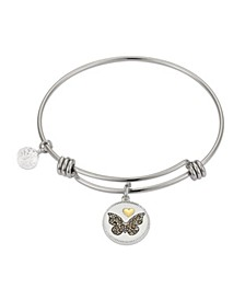 "Marcasite Crystal ""Sisters Always Forever"" Butterfly Adjustable Bangle Bracelet in Stainless Steel and Gold Two-Tone Fine Silver Plated Charms"