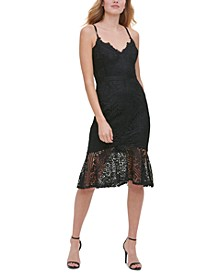 Flounce-Hem Lace Dress