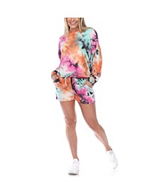 Women's Tie Dye Lounge Top and Shorts Set
