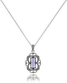 Amethyst Filigree Oval Pendant and a Curb Chain