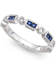 14k White Gold Sapphire (1/3 ct. t.w.) and Diamond (1/5 ct. t.w.) Alternating Ring