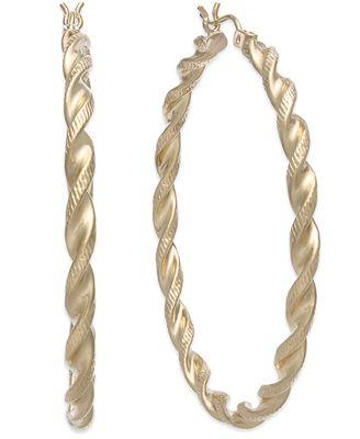 14k Gold Twist Hoop Earrings Earrings Jewelry & Watches