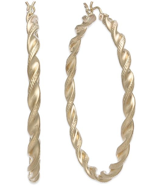 14k Gold Large Twist Hoop Earrings