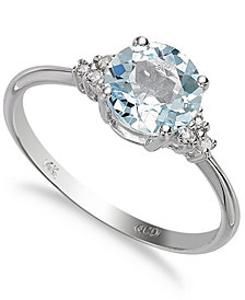 14k White Gold Aquamarine (1 ct. t.w.) and Diamond Accent Ring