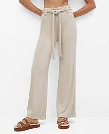 Women's Belt Straight-Fit Pants