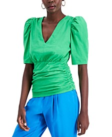 INC Petite Cotton Puff-Sleeve Top, Created for Macy's