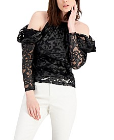 INC Faux-Leather Cold-Shoulder Top, Created for Macy's