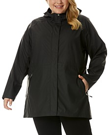 Plus Size Packable Hooded Raincoat, Created for Macy's