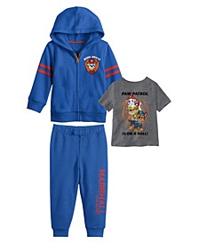 Toddler Boys Paw Patrol Hoodie with T-shirt and Fleece Pant Set, 3 Piece