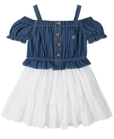 Toddler Girls Eyelet Hem Dress, 2 Piece