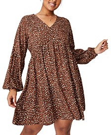 Trendy Plus Size Woven Linda Long Sleeve Mini Dress