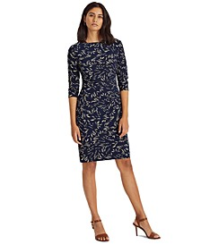 Printed Ruched Jersey Dress