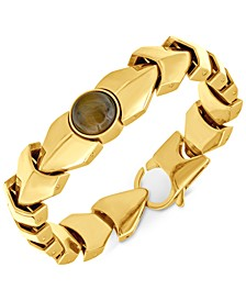 Men's Tiger's Eye Link Bracelet in Yellow Ion-Plated Stainless Steel