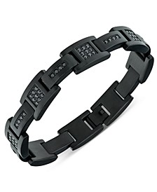 Men's Black Cubic Zirconia Cluster Link Bracelet in Black Ion-Plated Stainless Steel