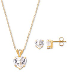 2-Pc. Set Created Ruby Heart Pendant Necklace & Matching Stud Earrings (3 ct. t.w.) in 10k Gold (Also in White Topaz, Amethyst & Garnet)
