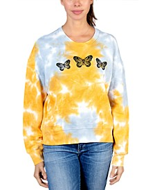 Juniors' Butterfly Graphic Tie-Dyed Sweater