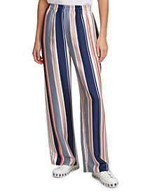 Printed Pull-On Wide-Leg Pants