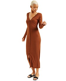 CULPOS X INC Ribbed Button-Front Cardigan Dress, Created for Macy's