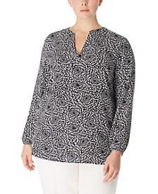 Plus Size Printed Split-Neck Blouse