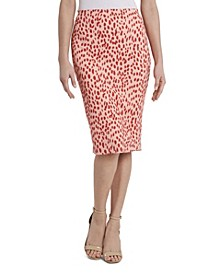 Women's Animal Print Textured Knit Pencil Skirt