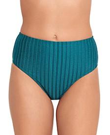 Shiny Seersucker Basic High-Waist Bikini Bottoms, Created for Macy's
