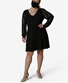 Plus Trendy Lace-Sleeve Bodycon Dress & Face Mask
