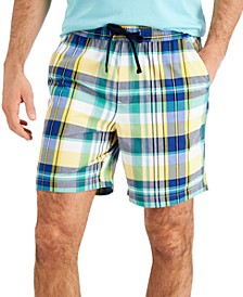 """Men's 7"""" Madras Plaid Pull On Shorts, Created for Macy's"""