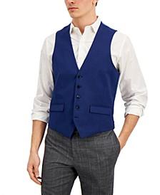 Men's Slim-Fit Blue Check Vest, Created for Macy's