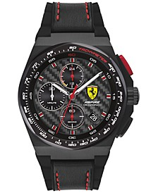 Men's Chronograph Aspire Black Leather & Silicone Strap Watch 44mm
