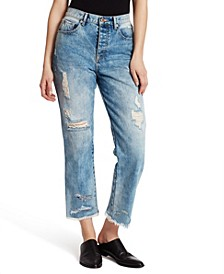 Women's High Waist Straight Crop Jeans