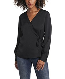 Women's Side Tie Wrap Front Blouse