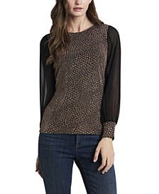 Women's Metallic Animal Print Top with Chiffon Sleeves